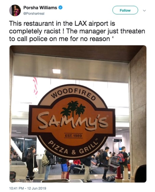 Porsha Williams calls LAX restaurant racist