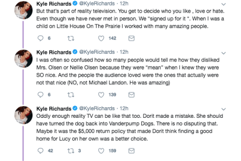 kyle richards throws shade at LVP's dog foundation