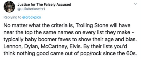 Twitter cries over Rolling Stone list