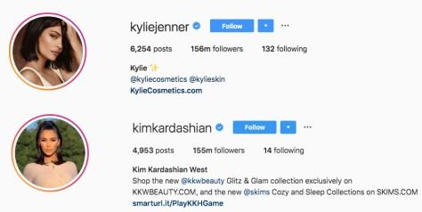 kim kardashian kylie jenner instagram followers