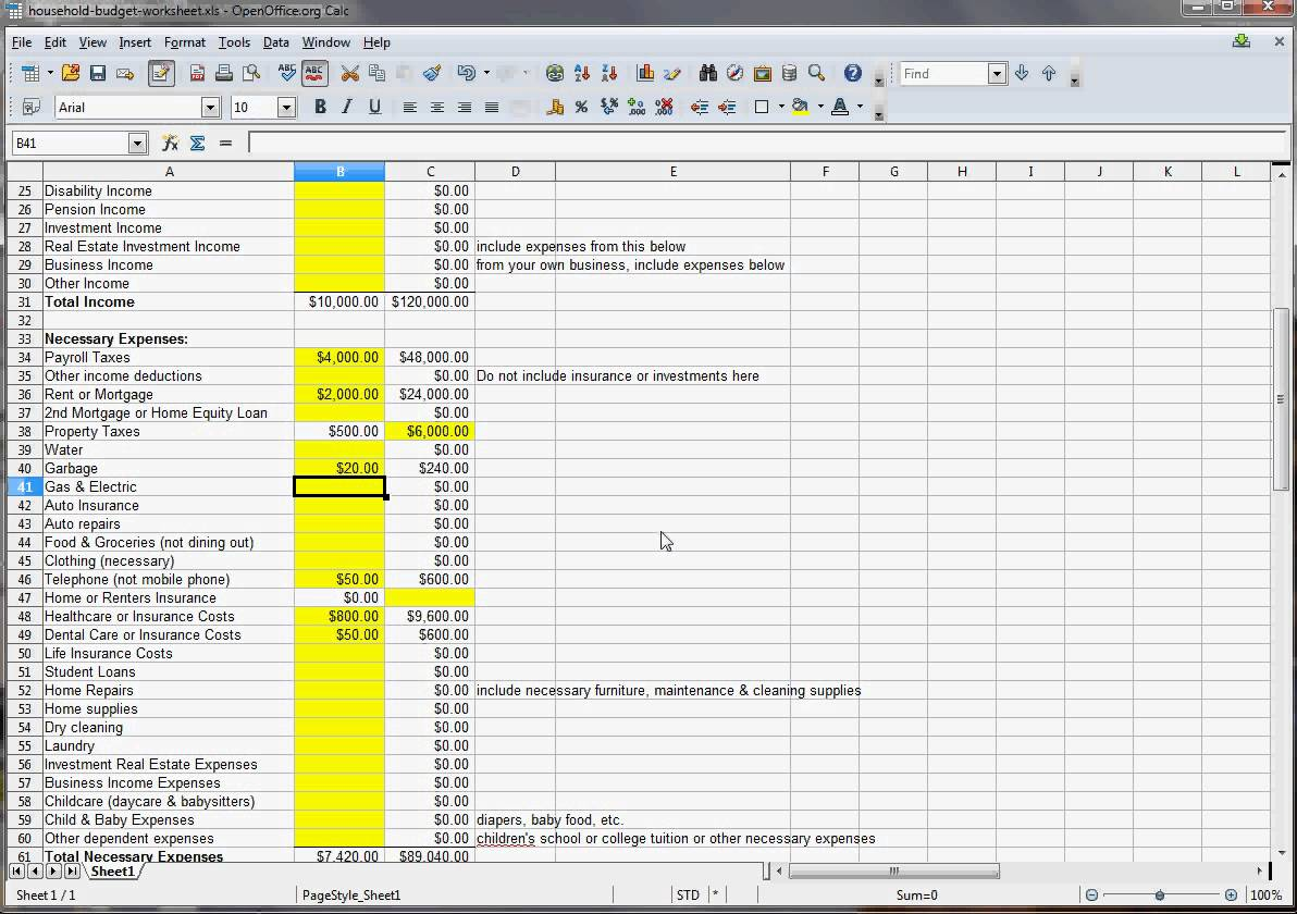 30 30 30 10 Budget Spreadsheets