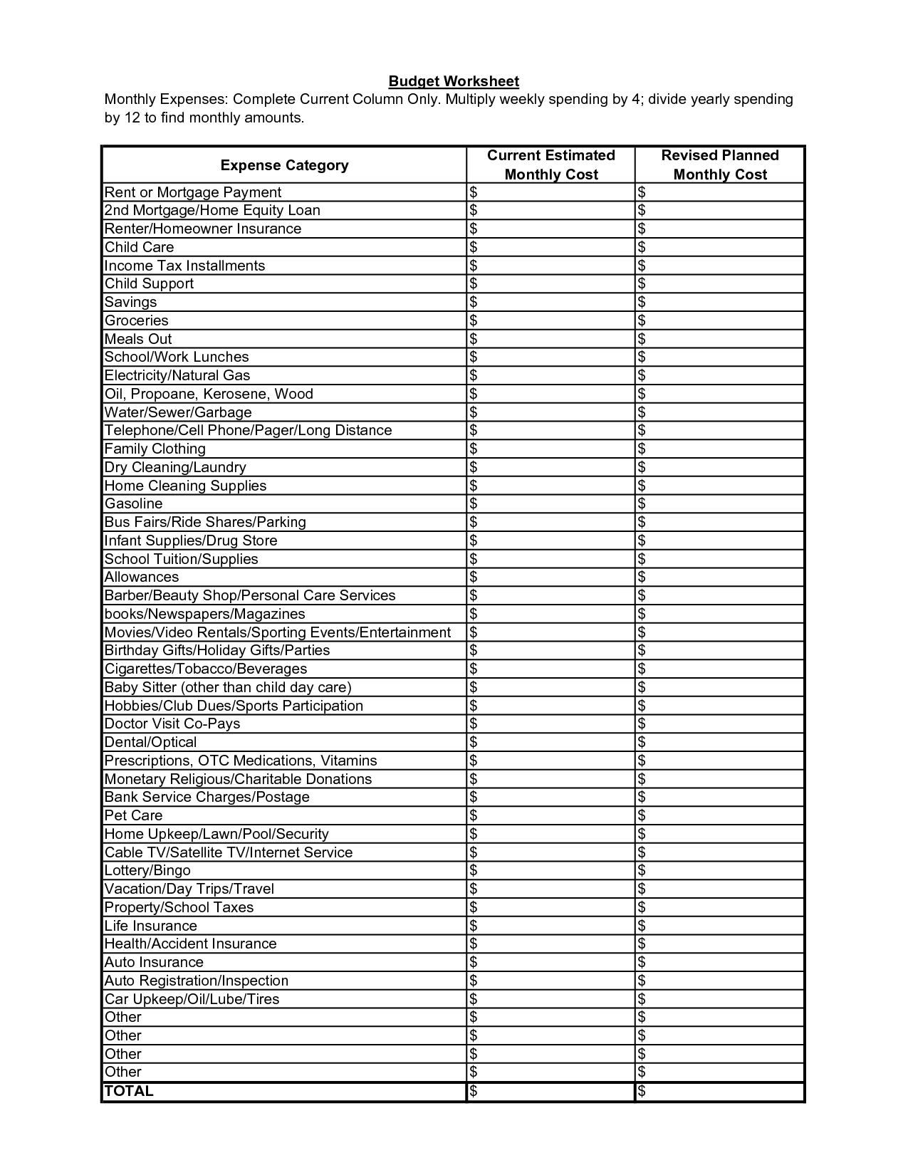 Household Monthly Expenses Template Spreadsheets