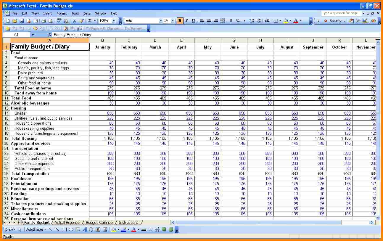Monthly Budget Excel Spreadsheet Template Spreadsheets