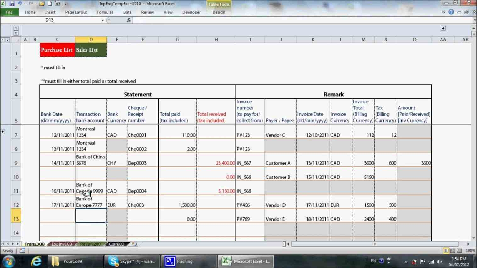 Accounting Of Business Income And Expenses Sheet