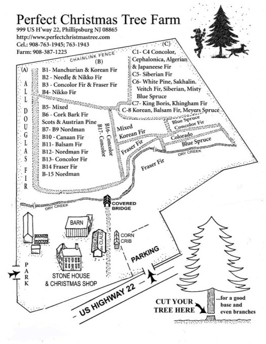 NJ Christmas Tree Farm Map