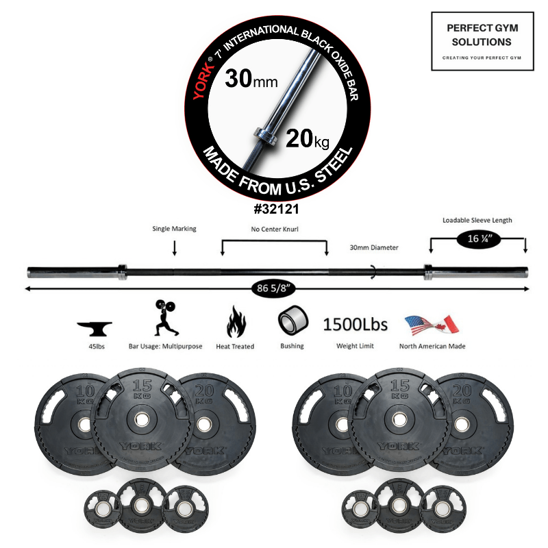 160KG Black Oxide Olympic Bar and Thin line Rubber Olympic Plate Package