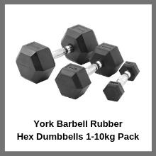 York Barbell Rubber Hex Dumbbells 1-10kg Pack