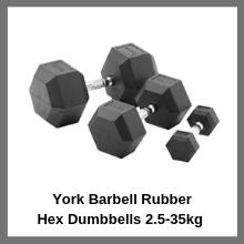 York Barbell Rubber Hex Dumbbells 2.5-35kg Pack