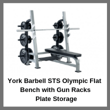 York Barbell STS Olympic Flat Bench with Gun Racksplate storage