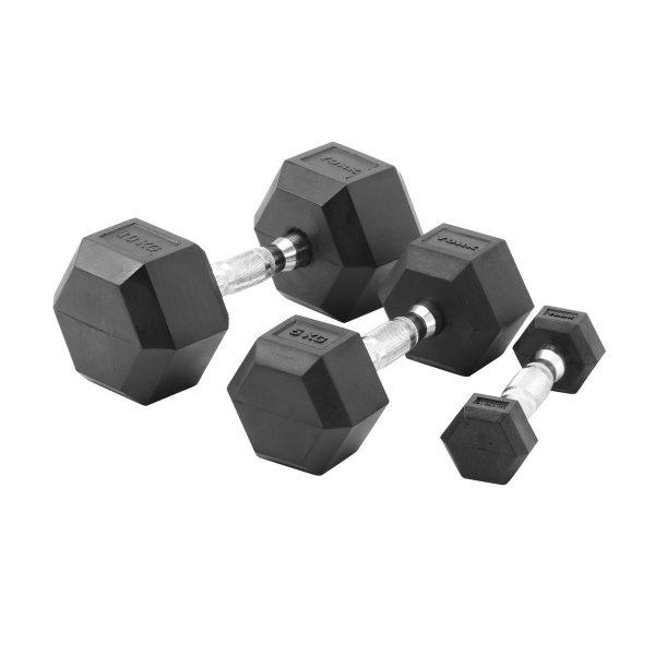 York Barbell Commercial Rubber Hex Dumbbells 5-10kg Pack