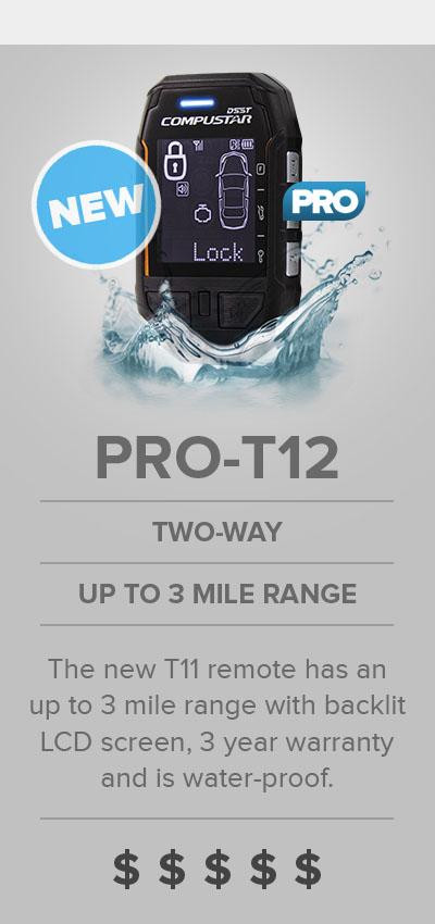 Compustar PRO T12 LCD Remote Start Waterproof 3 Mile Range