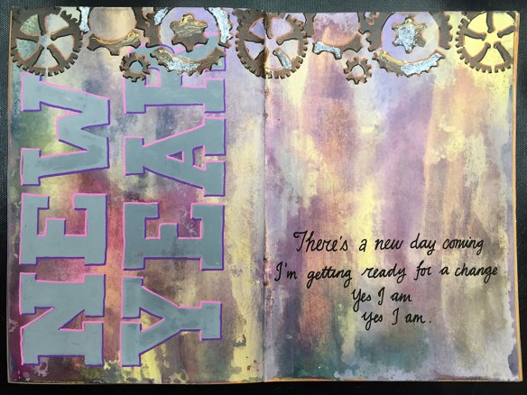 Stick 4: add texture with palette knife and medium - gold embossing paste (Dreamweaver) and DecoArt Texture Sand Paste
