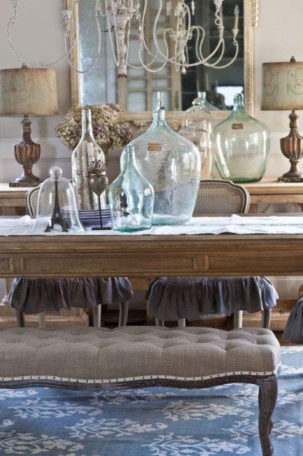 Dining Room decor, dining table, glass bottles, demijohn decor, demijohn, antique bottles