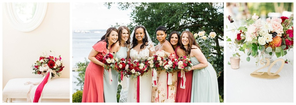 Admiral House wedding in Seattle with red, white and greenery color palette and bridesmaids in mismathced dresses| Wedding Planning and Design by Perfectly Posh Events, Seattle Wedding Planning Team | Photo by Michele M Waite