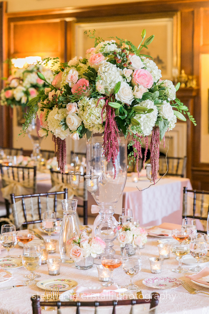 Thornewood Castle Wedding in Seattle  Elaboratewhite and blush floral centerpieces   Perfectly Posh Events, Seattle Wedding Planner   Stephanie Cristalli Photography   Aria Style