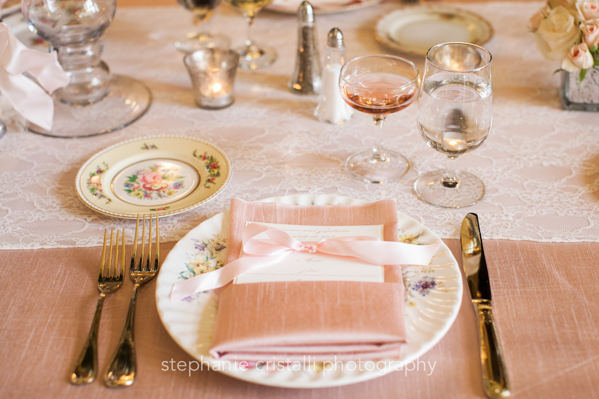 Thornewood Castle Wedding in Seattle   Blush and lace tablescape with fine china and gold flatware   Perfectly Posh Events, Seattle Wedding Planner   Stephanie Cristalli Photography