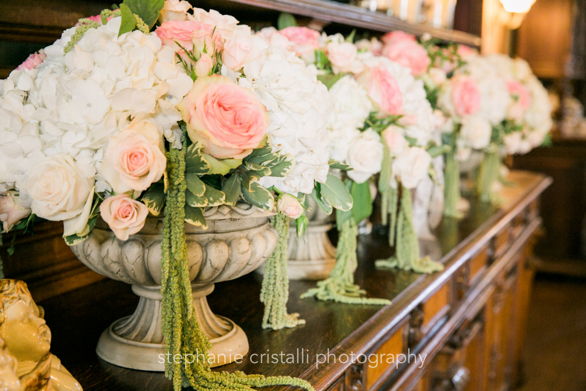 Thornewood Castle Wedding in Seattle   Romantic reception floral decor with cascading greenery and blush asnd white roses   Perfectly Posh Events, Seattle Wedding Planner   Stephanie Cristalli Photography   Aria Style