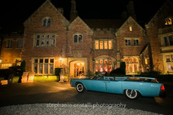 Thornewood Castle Wedding in Seattle | Blue Lincoln Continental Convertible get away car | Perfectly Posh Events, Seattle Wedding Planner | Stephanie Cristalli Photography