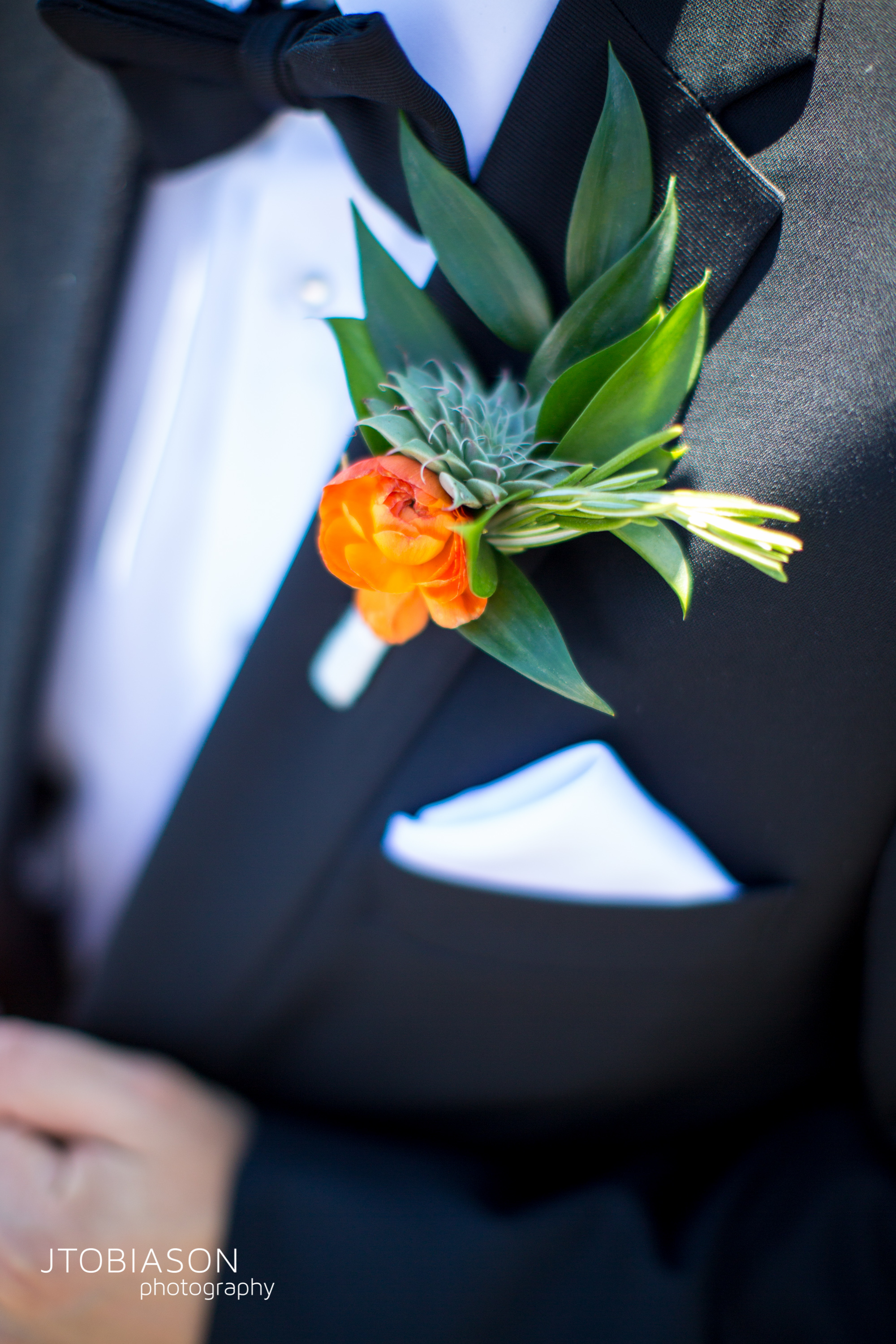 Seattle Tennis Club wedding in Seattle |Groom's succulent and orange flower boutonierre | Perfectly Posh Events, Seattle Wedding Planner | JTobiason Photography | Sublime Stems
