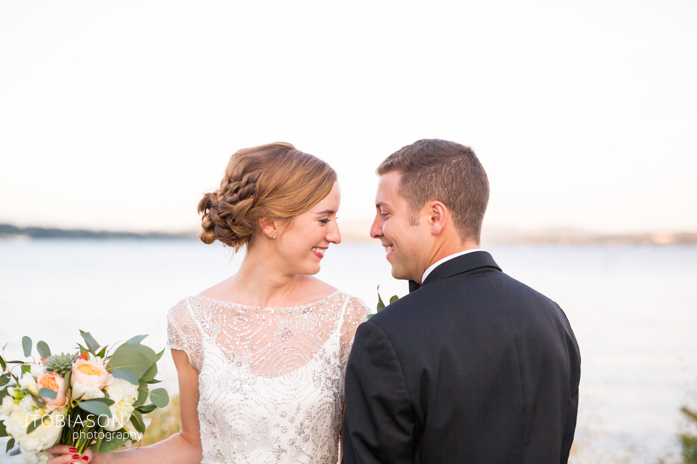 Seattle Tennis Club wedding in Seattle | Seattle bride & groom headshot in front of Lake Washington | Perfectly Posh Events, Seattle Wedding Planner | JTobiason Photography