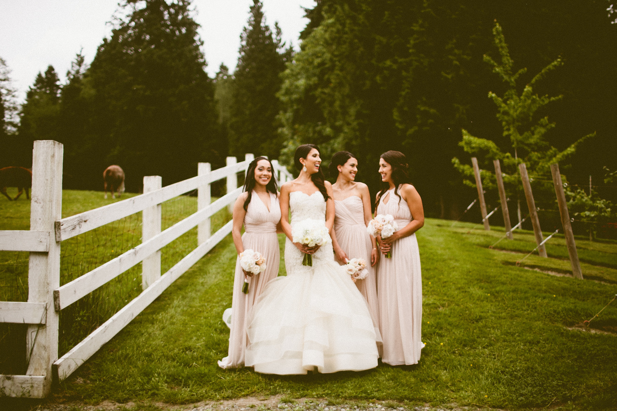DeLille Cellars wedding in Woodinville | Bride & Bridesmaids in blush floor-length dresses| Perfectly Posh Events | Seattle Wedding Planner | Andria Lindquist Photography