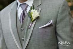 Laurel Creek Manor Wedding in Seattle | Groom's grey suit with purple accessories and white boutonniere | Perfectly Posh Events, Seattle Wedding Planner | Azzura Photography | Sublime Stems