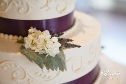 Laurel Creek Manor Wedding in Seattle |Elegant three-tier wedding cake with purple ribbon and hydrangea and succulent florals | Perfectly Posh Events, Seattle Wedding Planner | Azzura Photography | Sublime Stems