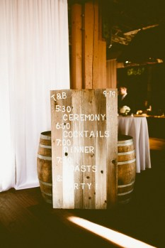 Sodo Park Wedding in Seattle   Wedding timeline signage made from reclaimed wood   Perfectly Posh Events, Seattle Wedding Planner   Andria Lindquist Photography