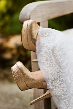 Robinswood House Wedding in Bellevue | Gold glitter bridal shoes, pumps | Perfectly Posh Events, Seattle Wedding Planner | Courtney Bowlden Photography