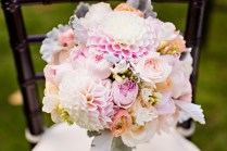 Robinswood House Wedding in Bellevue   Soft and colorful bouquet with dahlias   Perfectly Posh Events, Seattle Wedding Planner   Courtney Bowlden Photography   Sublime Stems   Bridal bouquet with pink and white flowers
