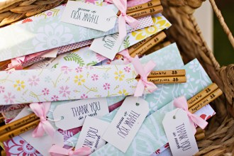 Robinswood House Wedding in Bellevue | Custom engraved chopsticks as wedding favors | Perfectly Posh Events, Seattle Wedding Planner | Courtney Bowlden Photography | Chopstick wedding favors