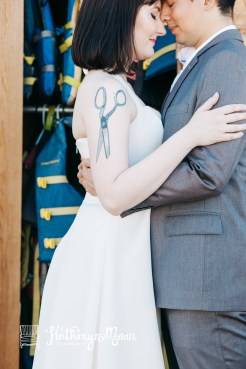 Center for Wooden Boats wedding in Seattle | Bride with arm tattoo and groom close-up | Perfectly Posh Events, Seattle Wedding Planning | Kathryn Moran Photography