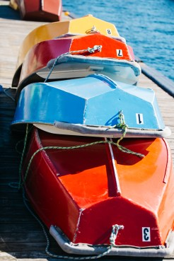 Center for Wooden Boats wedding in Seattle | Colorful boats on marina dock | Perfectly Posh Events, Seattle Wedding Planning | Kathryn Moran Photography