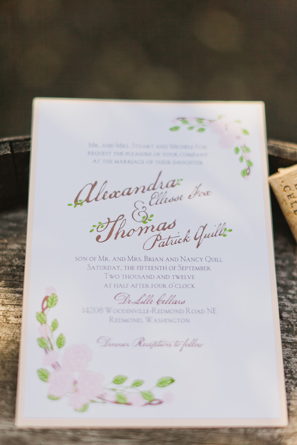 DeLille Cellars wedding in Woodinville | Garden themed wedding invitation | Perfectly Posh Events | Lucid Captures Photography | Invitation Solutions