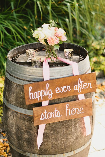 DeLille Cellars wedding in Woodinville | Rustic welcome sign on wine barrel | Perfectly Posh Events | Lucid Captures Photography | Bella Signature Design