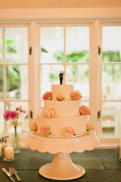 DeLille Cellars wedding in Woodinville   Three-tired buttercream cake with rose accents   Perfectly Posh Events   Lucid Captures Photography   Morfey's Cakes