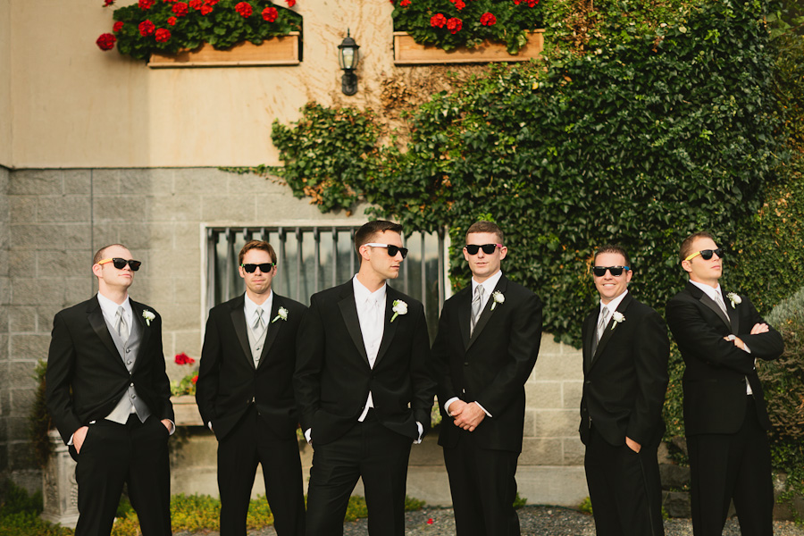 DeLille Cellars wedding in Woodinville | Groomsmen bridal party photoshoot with sunglasses | Perfectly Posh Events | Lucid Captures Photography