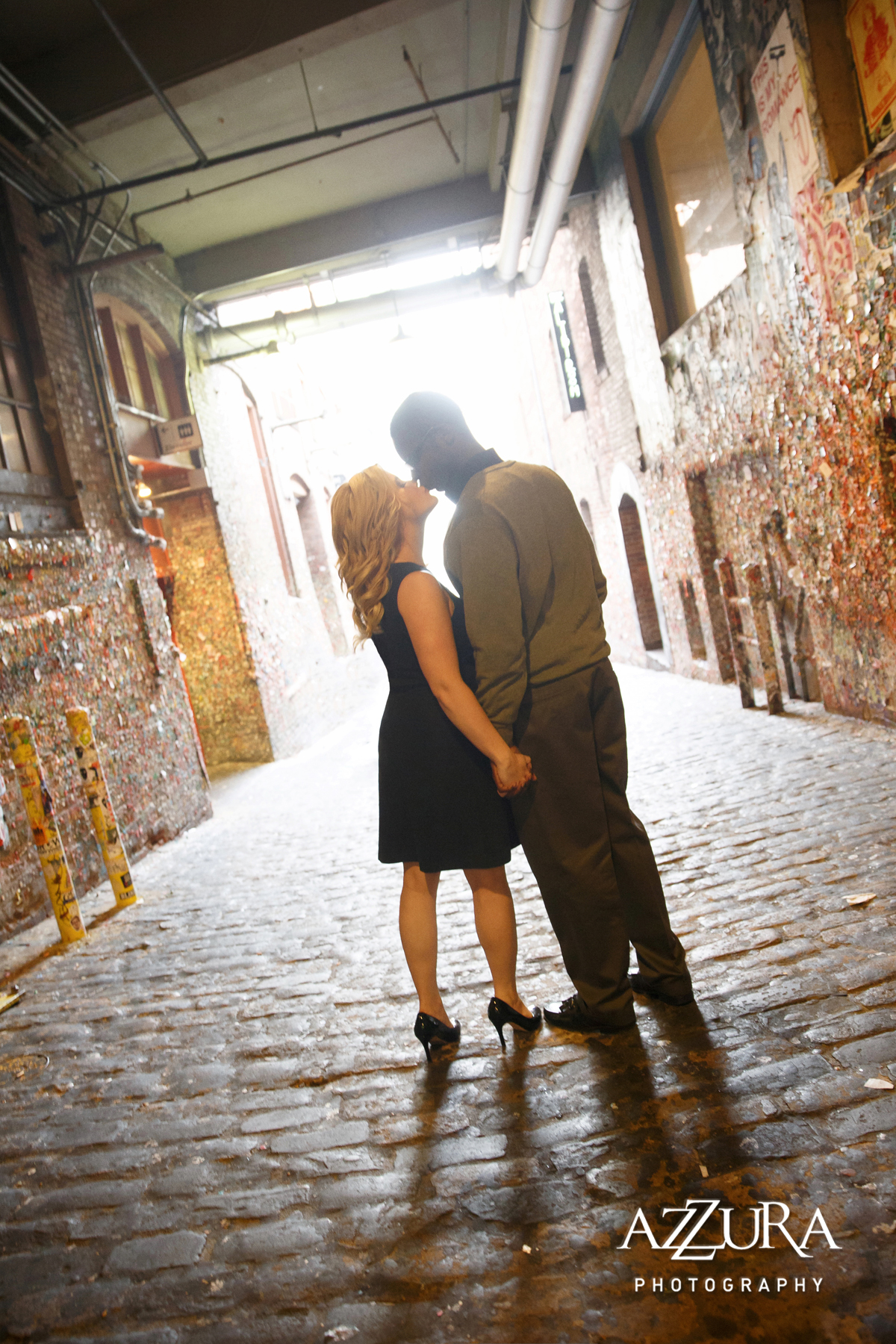 Seattle Engagement Shoots | Seattle gum wall engagement shoot | Perfectly Posh Events | Azzura Photography