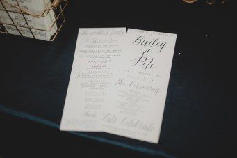 Cedarbrook Lodge wedding in Seattle | Calligraphy print ceremony programs, front and back | Perfectly Posh Events | Carly Bish Photography | Etsy.com