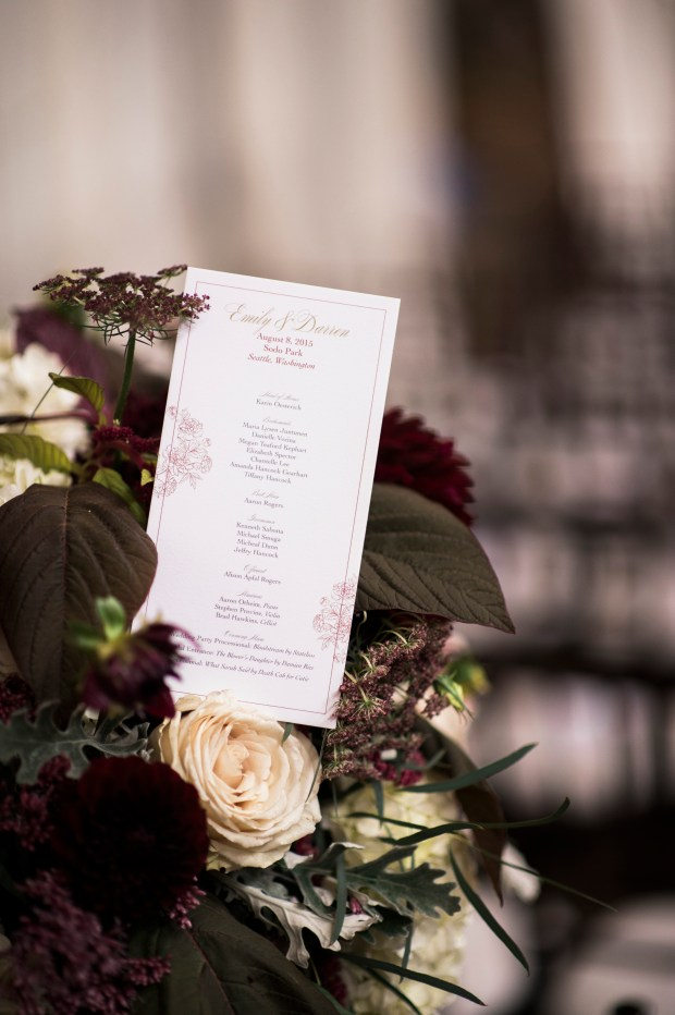 Sodo Park Wedding in Seattle |Romantic, garden-themed ceremony programs in dark burgundy flowers | Perfectly Posh Events | Kimberly Kay Photography | Songbird Paperie | Floressence