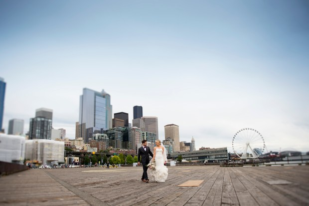 Sodo Park Wedding in Seattle | Seattle skyline wedding photos with Seattle Great Wheel | Perfectly Posh Events | Kimberly Kay Photography