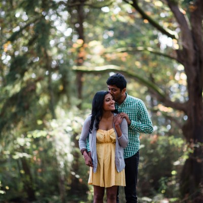 Seattle Engagement Shoots | Seattle park engagement shoot among the trees | Perfectly Posh Events | Shane Macomber Photography