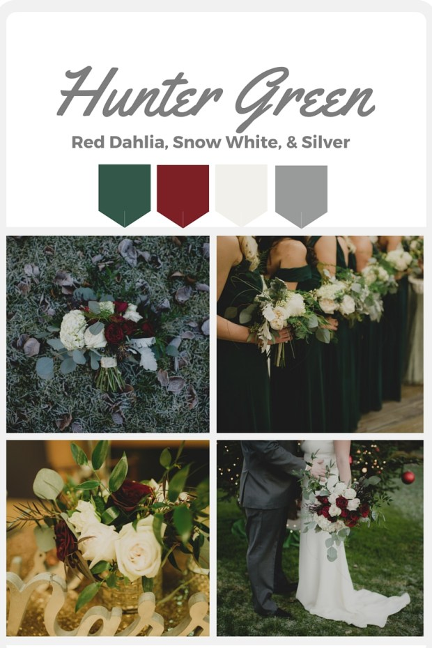 Green Wedding Color Swatches from Pantone   Real wedding with Pantone color, Hunter Green   Coordinated by Perfectly Posh Events   Carly Bish Photography   Floral Design by Butter & Bloom