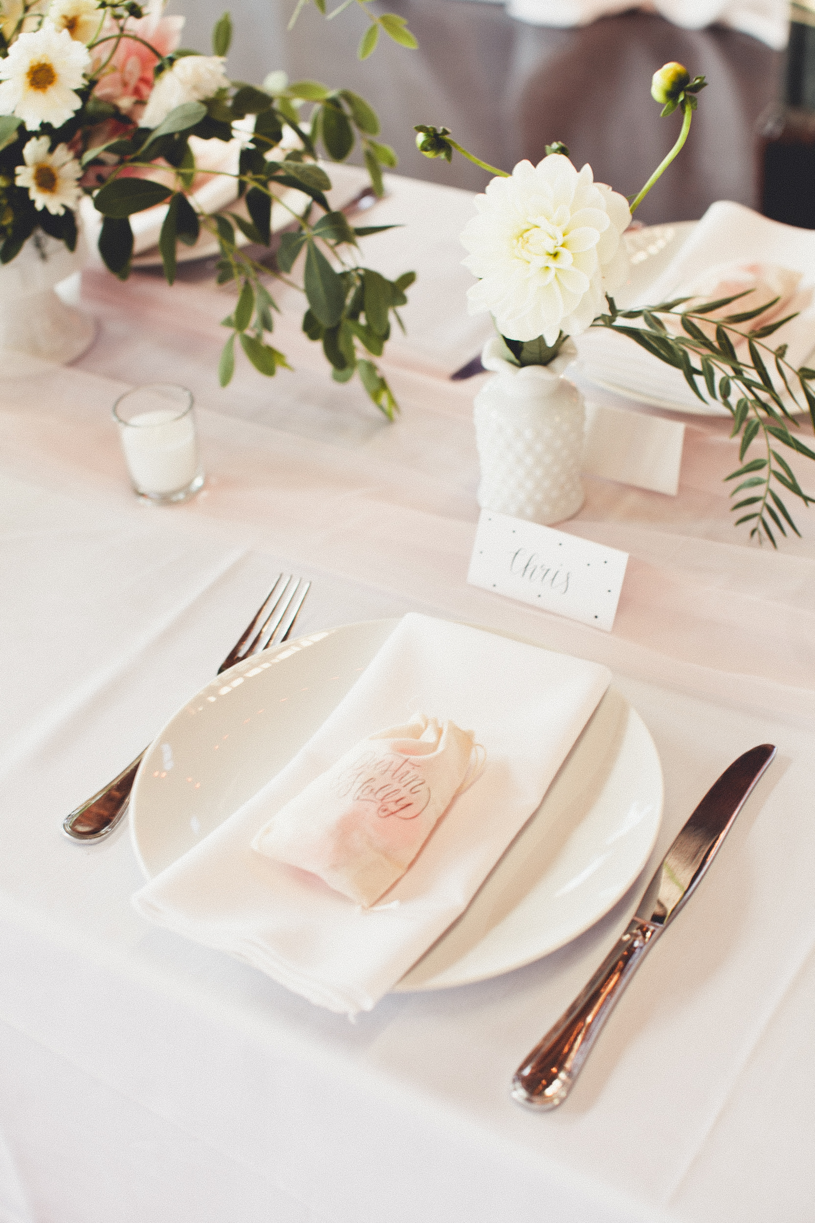 Wedding reception place setting with DIY centerpieces | Golden Gardens Bathouse Wedding | Perfectly Posh Events, Seattle Wedding Planner | Andria Linquist Photography | Holly + Dustin Wedding // © Andria Lindquist 2014