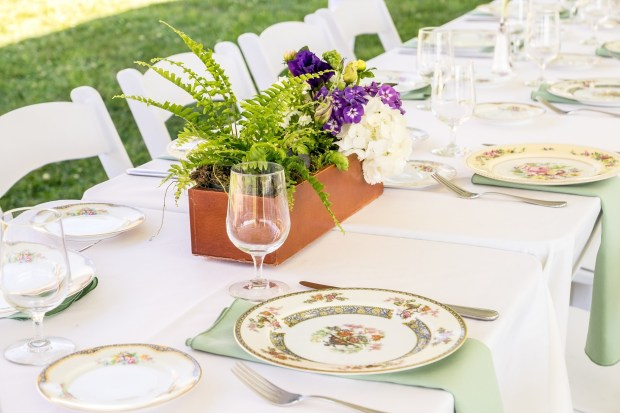 Rustic dinner reception with mismatched china and sage green napkins | Meadowbrook Farm Wedding, Snoqualmie, WA | Perfectly Posh Events, Seattle Wedding Planner | Down to Earth Flowers | Sasha Reiko Photography | Jesse + Wes Wedding // © Sasha Reiko Photography