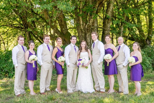 Wedding party in khaki and royal purple | Meadowbrook Farm Wedding, Snoqualmie, WA | Perfectly Posh Events, Seattle Wedding Planner | Down to Earth Flowers | Sasha Reiko Photography | Jesse + Wes Wedding // © Sasha Reiko Photography