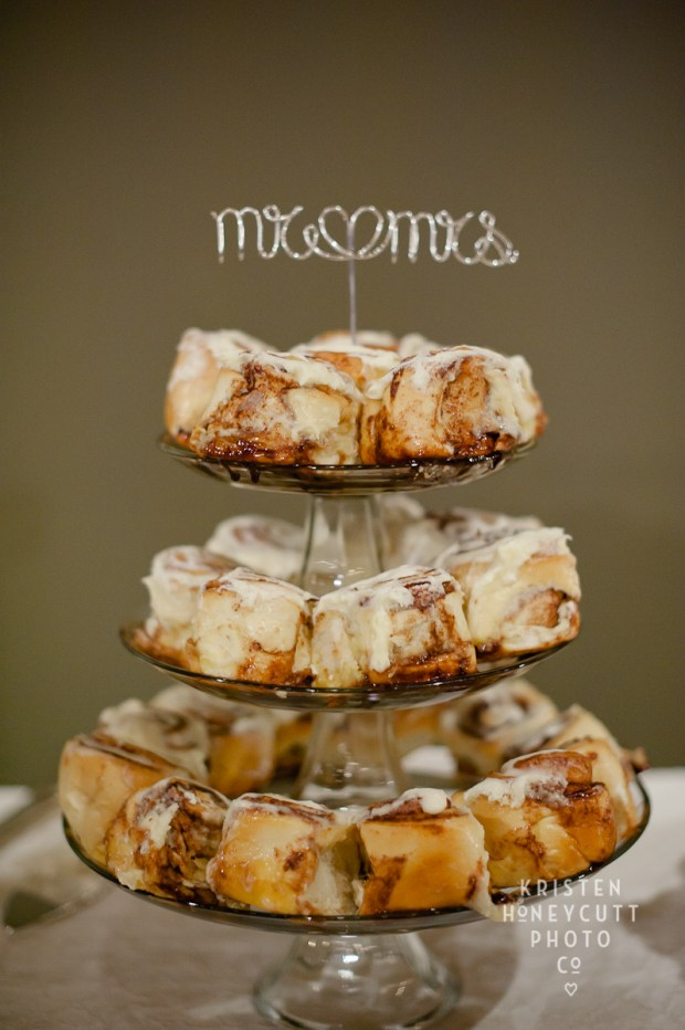 Melrose Market Studios Wedding in Seattle, WA | Cinnabon cinnamon roll tower as wedding cake alternative | Wedding Planning by Perfectly Posh Events, Seattle Wedding Planner | Kristen Honeycutt Photography | Dessert by Cinnabon
