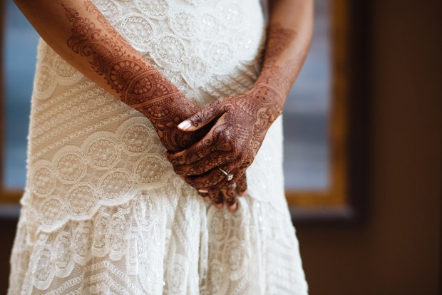 Kiana Lodge Wedding on Bainbridge Island, WA | Bridal henna tattoo contrasted against stunning ivory bead and lace wedding gown | Perfectly Posh Events, Seattle Wedding Planning | Shane Macomber Photography