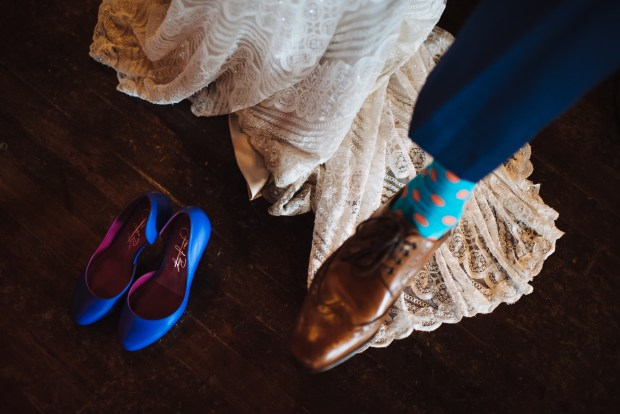 Kiana Lodge Wedding on Bainbridge Island, WA | Something blue shoes and colorful dress socks for the groom | Perfectly Posh Events, Seattle Wedding Planning | Shane Macomber Photography