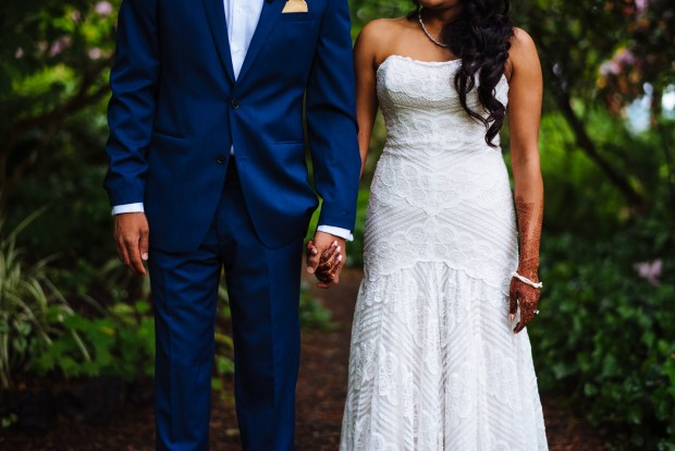 Kiana Lodge Wedding on Bainbridge Island, WA | Navy blue suit for groom's attire and stunning strapless, ivory beaded and scalloped lace wedding dress | Perfectly Posh Events, Seattle Wedding Planning | Shane Macomber Photography
